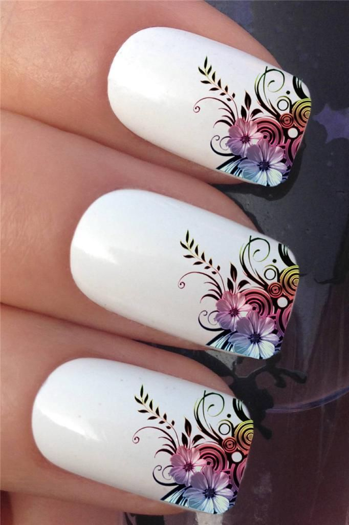 NAIL ART SET #608 x12 FLOWER LEAF FRENCH TIPS WATER TRANSFER DECALS ...