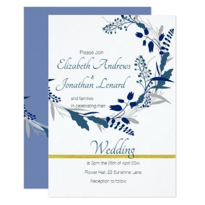 Blue Themed Floral Wedding Invitation Zazzle Com Floral Wedding Invitations Diy Wedding Gifts Chic Wedding Invitations