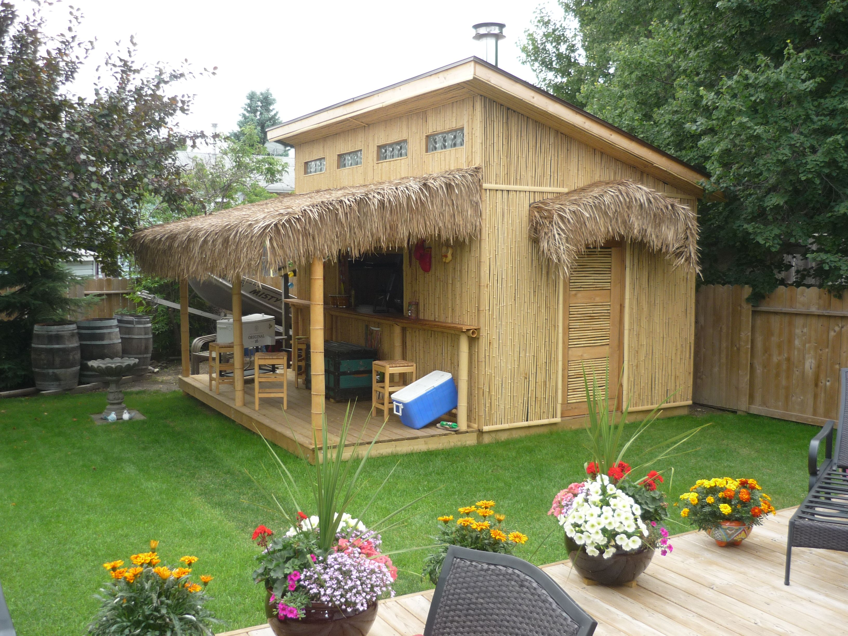 Tiki bar party sheds pinterest tiki bars bar and for Outdoor kitchen shed