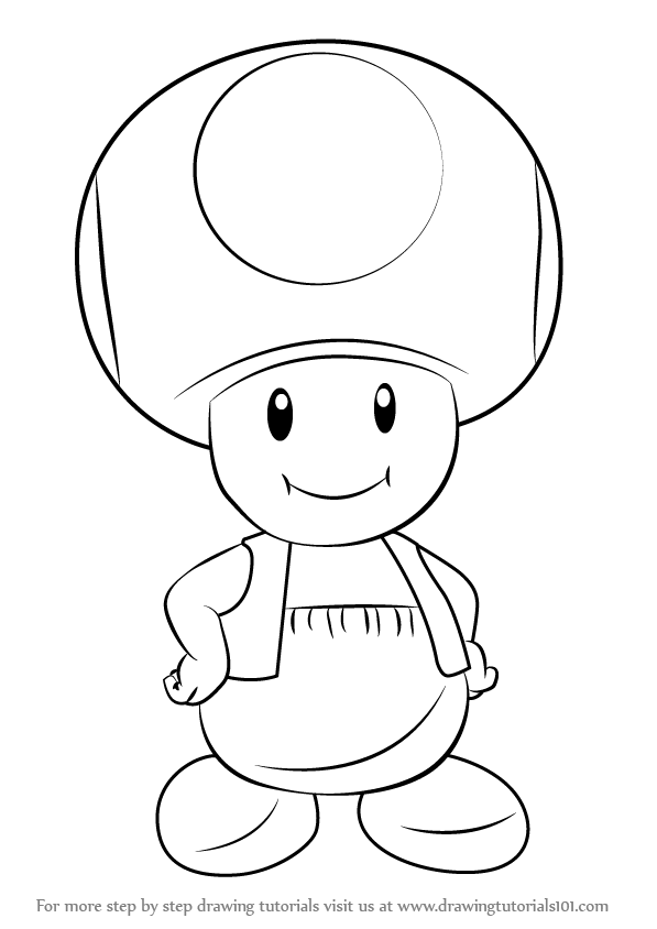 Step By Step How To Draw Toad From Super Mario Drawingtutorials101 Comp Mario Coloring Pages Mario Art Easy Drawings