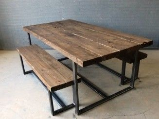 Communal Restaurant Industrial Rustic Tables Google Search Metal Dining Table Dining Table With Bench Industrial Design Furniture