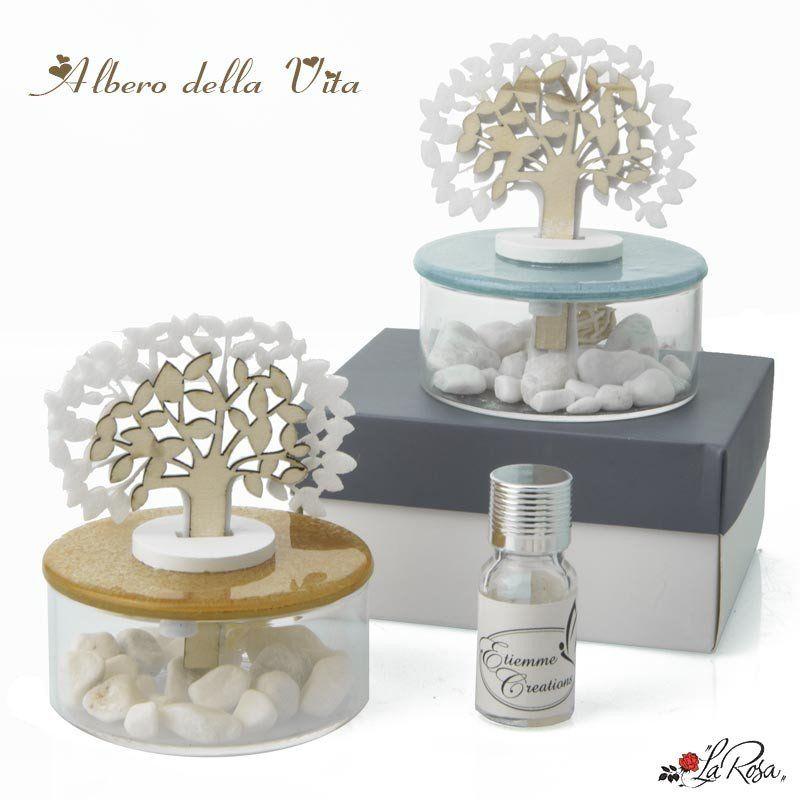 bomboniera albero della vita profumatore con vaso in vetro e