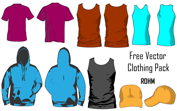 Download Free Vector T Shirt Apparel Template Pack Clothing Templates Vector Free Shirt Template