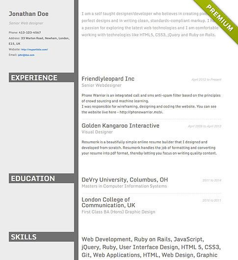 Resume Template  Concrete  Create Your Cv  Resumonk Cv