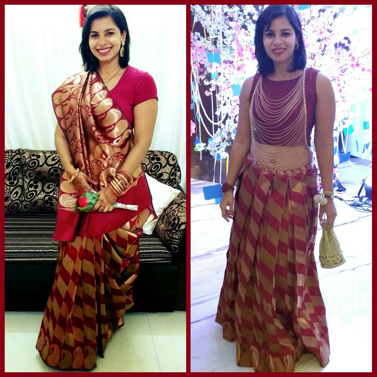 75ba1b06897 Saree converted to crop top - skirt combo #croptopnskirt #indian #wedding  #sareerepurpose #saree #reuse #ethnic #sangeetoutfit #sangeet#ootd #reuse