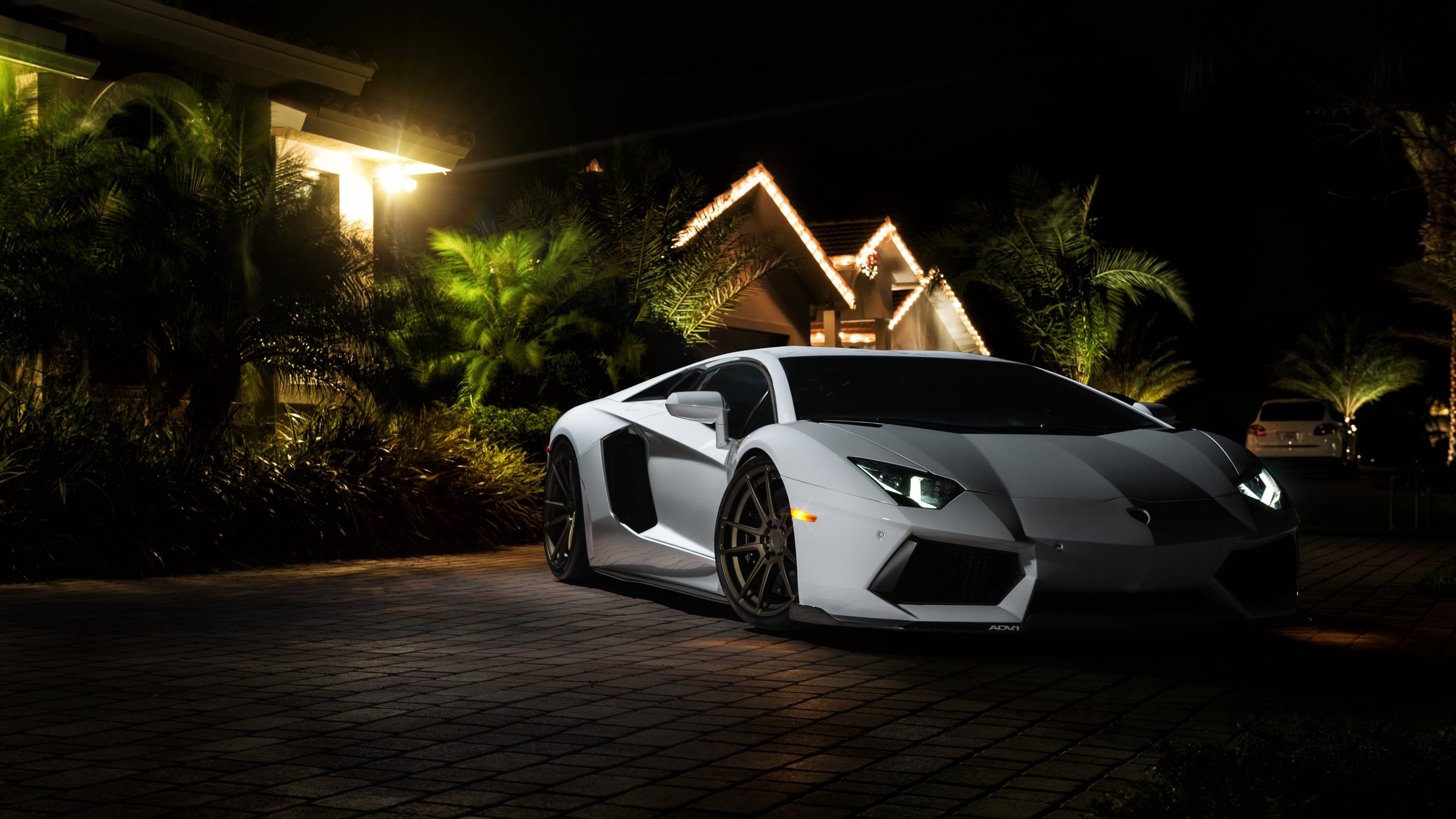 053948 Automobiles Buildings Cars Headlights Lamborghini Aventador Night