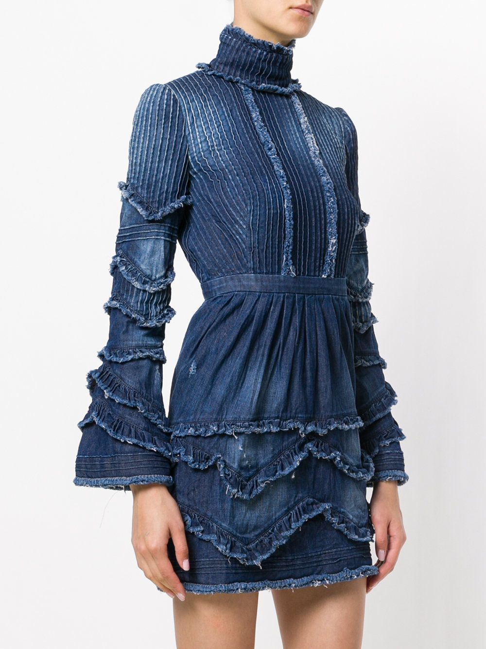 Dsquared2 Ruffled Denim Dress Denim Ruffle Dress Denim Fashion Denim Inspiration [ 1334 x 1000 Pixel ]