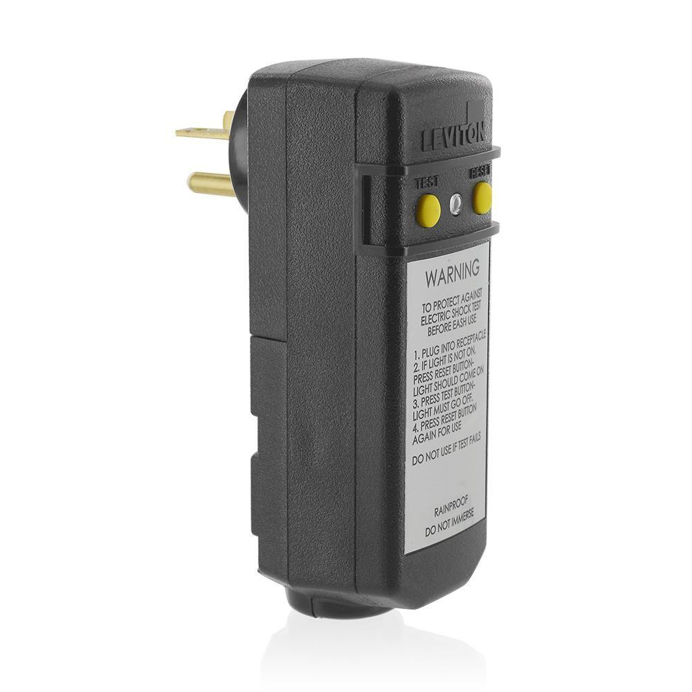 Leviton 20 Amp 120 Volt Right Angle Grounding Gfci Plug Black 081 16793 000 Gfci Plug Plugs Portable Pools
