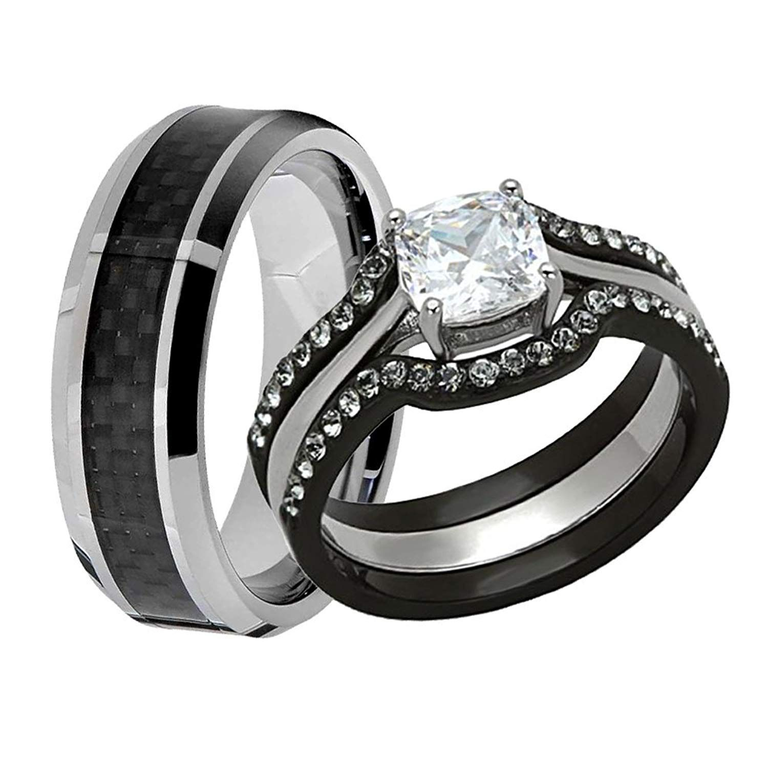 Flamereflection His And Hers Stainless Steel Cushion Cz Wedding Ring Set Tungsten Wedding Band In 2020 Wedding Ring Cushion Cz Wedding Ring Sets Tungsten Wedding Rings