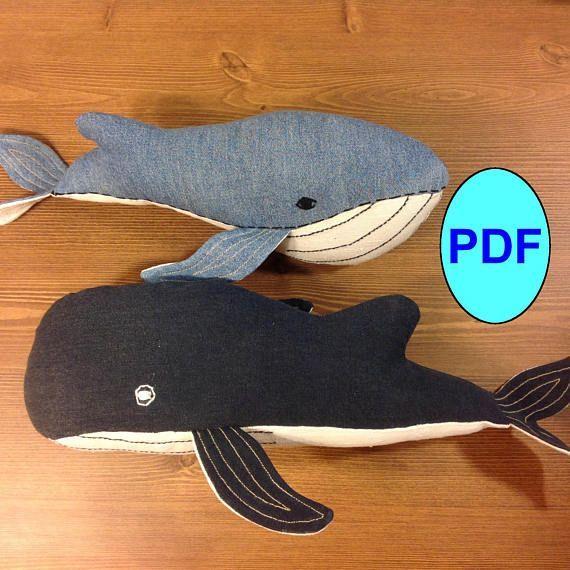 Whale pattern DIY Stuffed animal pattern Sewing pattern Soft toy pattern Plush pattern Tutorial Set of 2 pattern