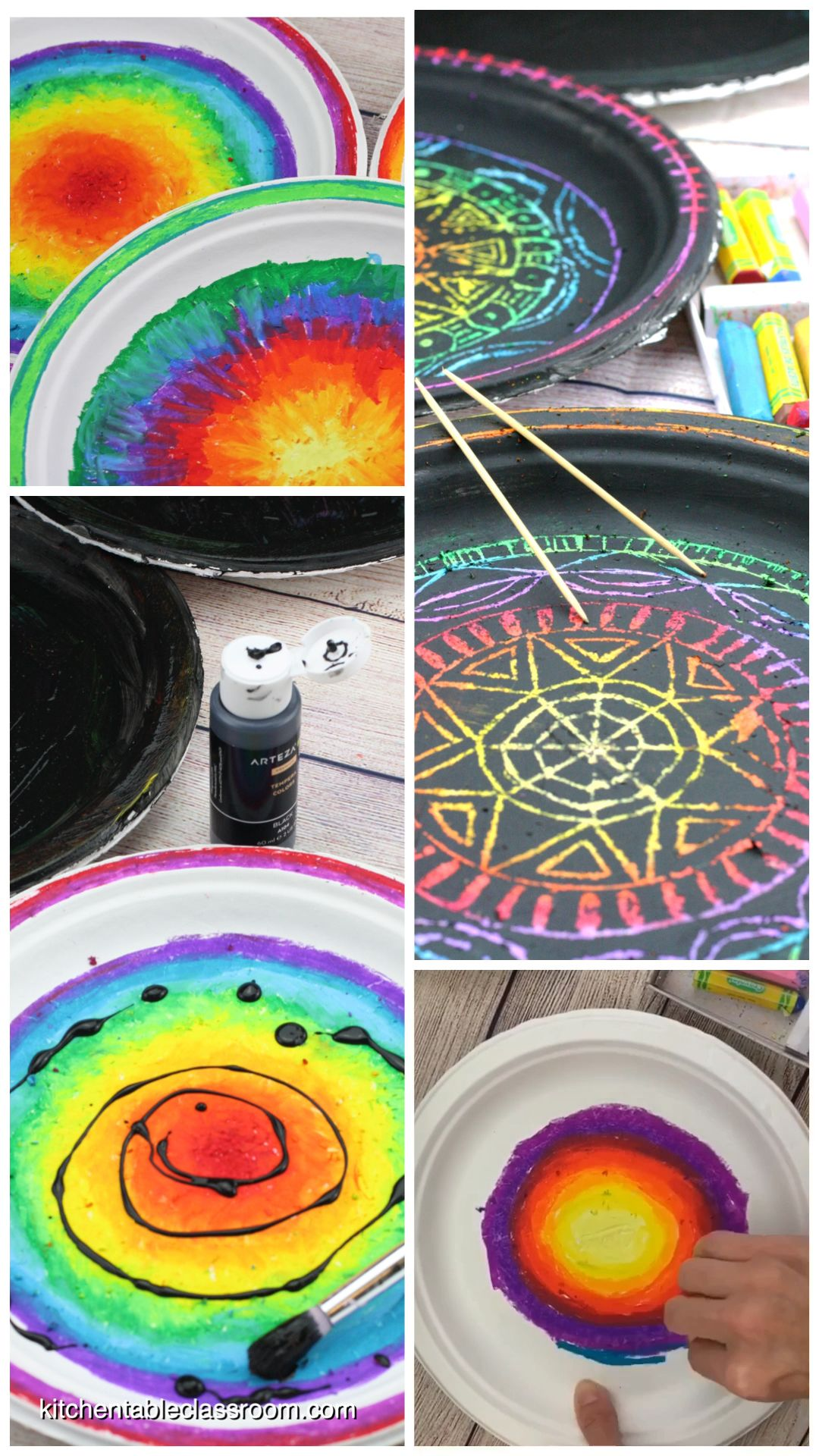 DIY Scratch Art- Colorful Paper Plate Mandalas - T