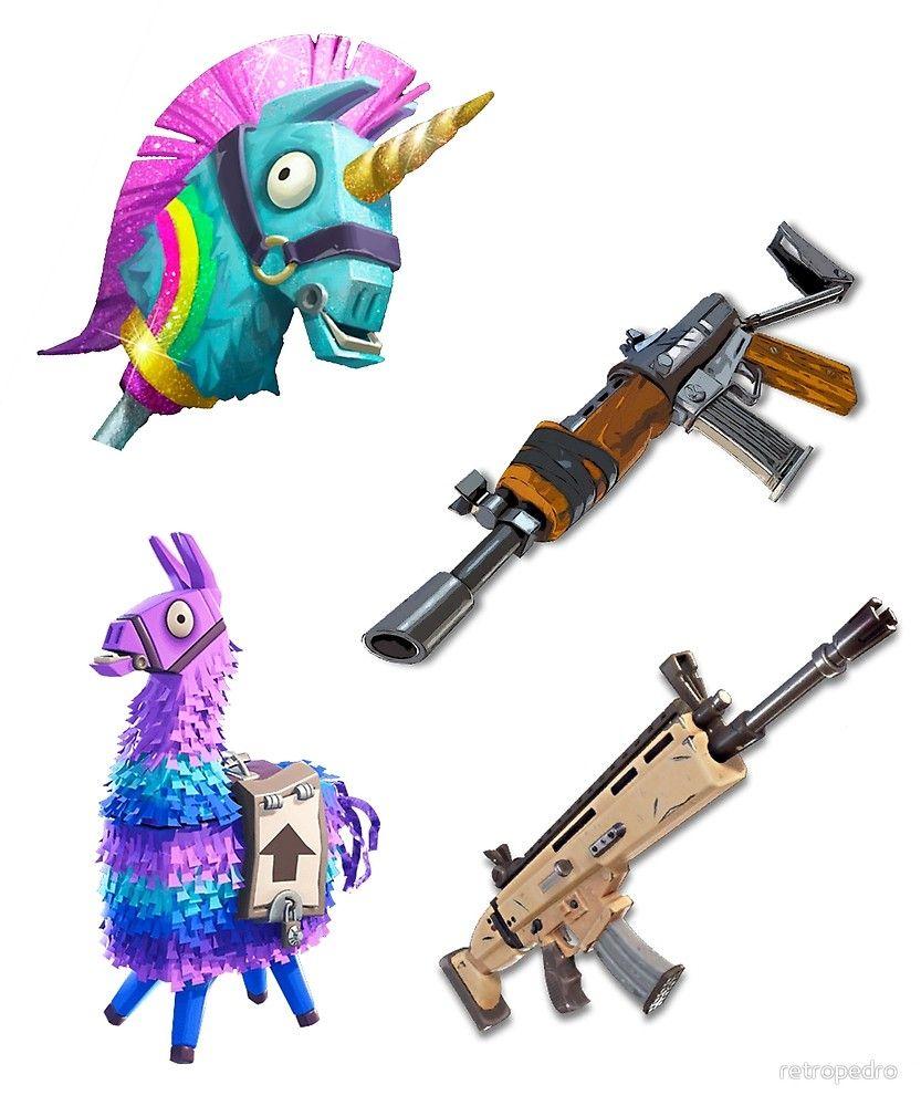 Fortnite Sticker 4 Pack With Unicorn Axe Aka Rainbow Smash By