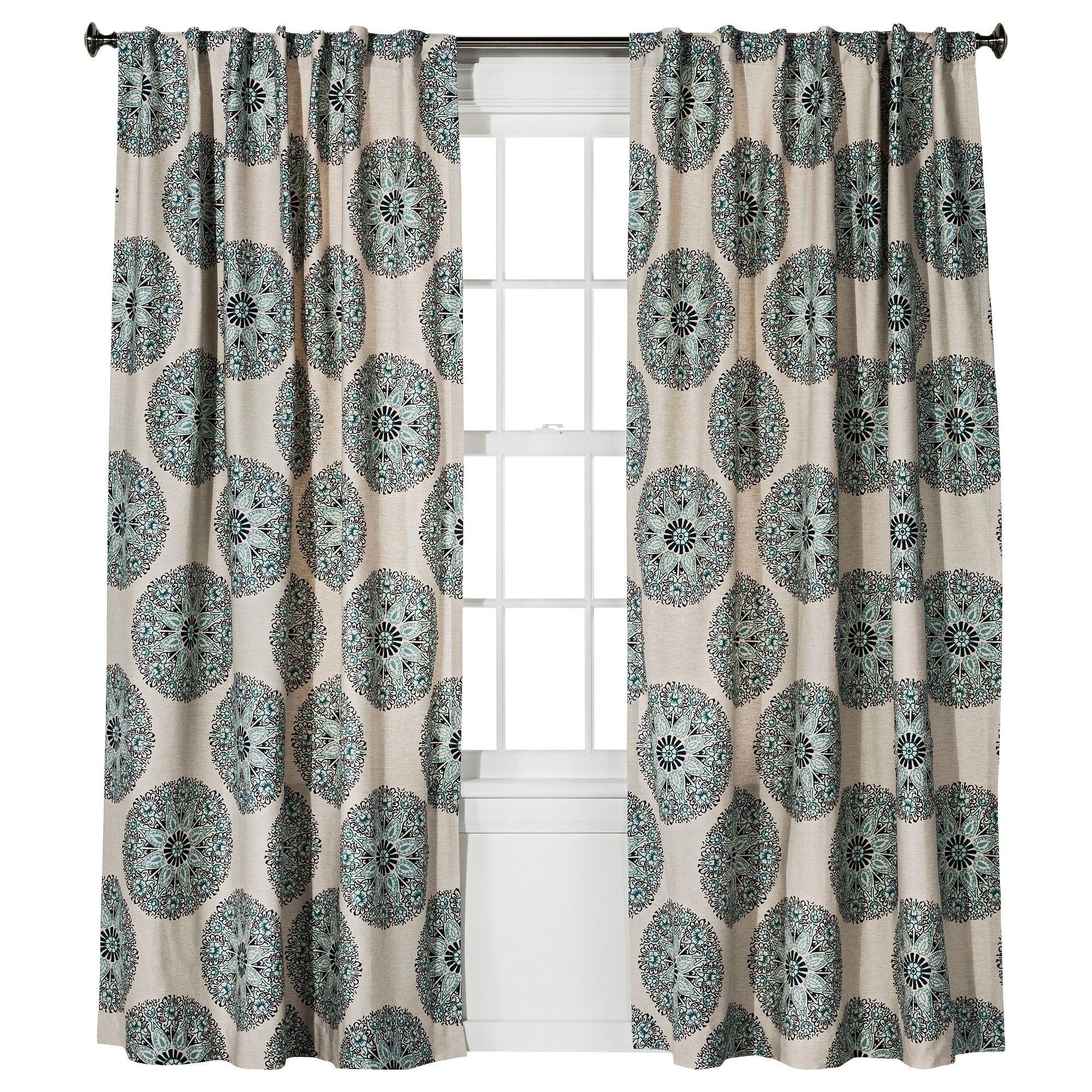 Naturals Medallion Curtain Panel Blue (54\