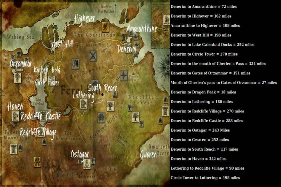 Map Of Ferelden Map of Ferelden with Distance Chart by Raven Jadewolfe | Swooping  Map Of Ferelden