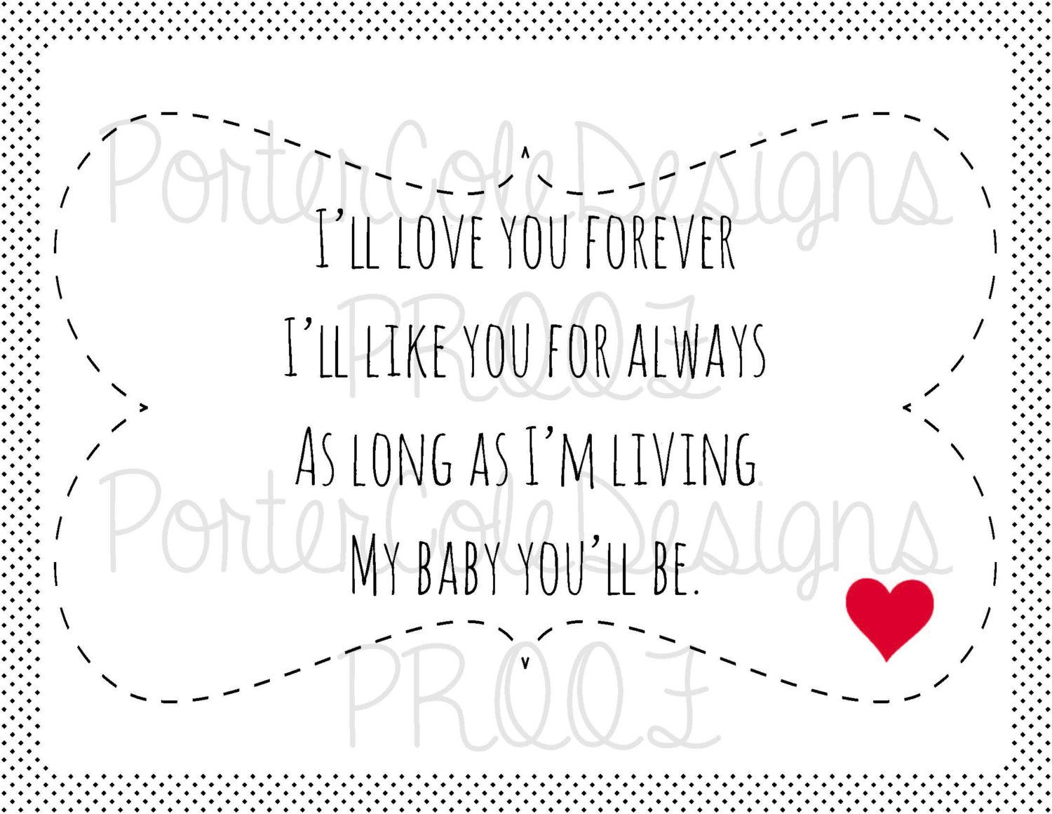 I Love You Forever I Like You For Always Quote 8.5X11 I'll Love You Forever Children's Bookportercoledesigns
