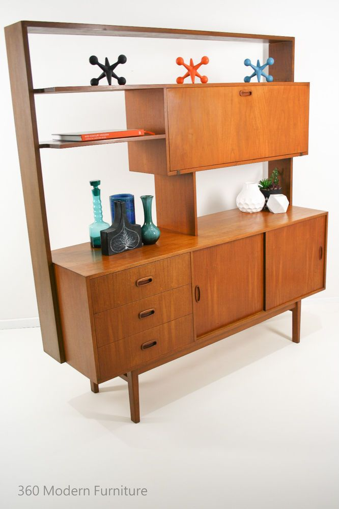 Mid Century Teak Sideboard Room Divider Buffet Cabinet Drop Down Cocktail  Bar / Book Shelves / Bookcase / Hall Stand | 360 Modern Furniture