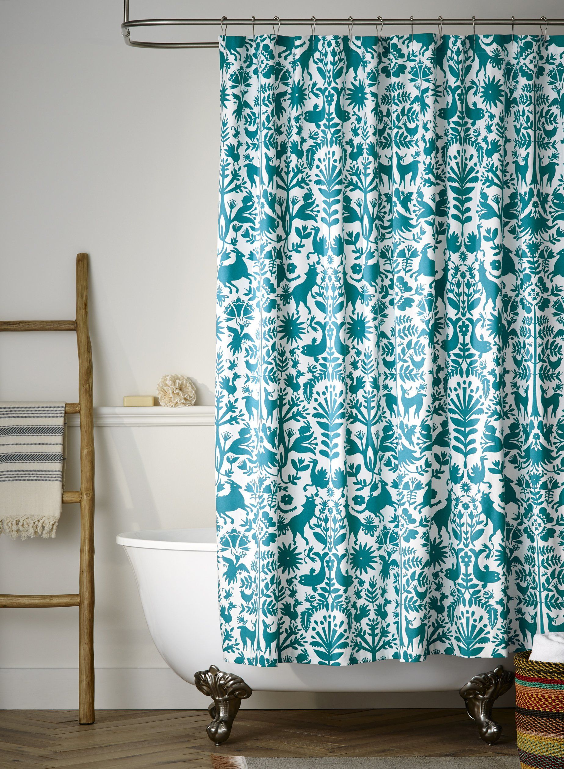 Otomi Turquoise Shower Curtain By Emily Isabella On Hyggeandwest