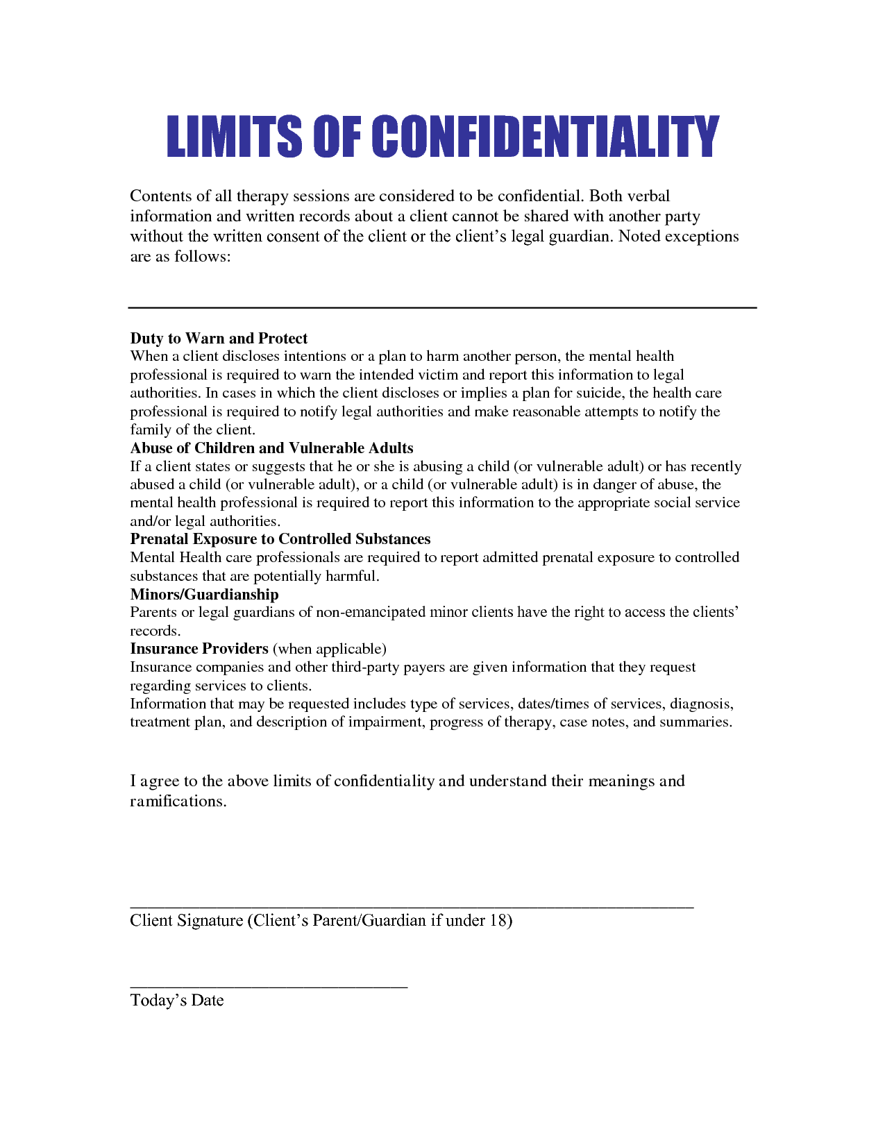 What Are The Limits Of Confidentiality In Therapy  Sample Patient