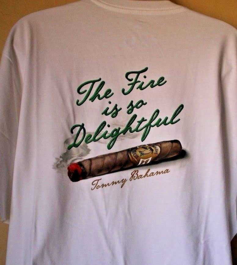 Tommy Bahama Relax The Fire is so Delightful Cigar White Men s Shirt (XL)  (XXL)  TommyBahama  GraphicTee 8117f6935