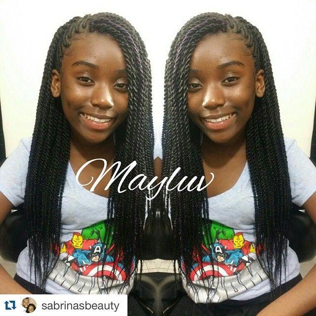 Kidz With Curlz On Instagram Super Cute Style Repost Sabrinasbeauty Side Braids Wi Twist Hairstyles Senegalese Twist Crochet Braids Braided Hairstyles