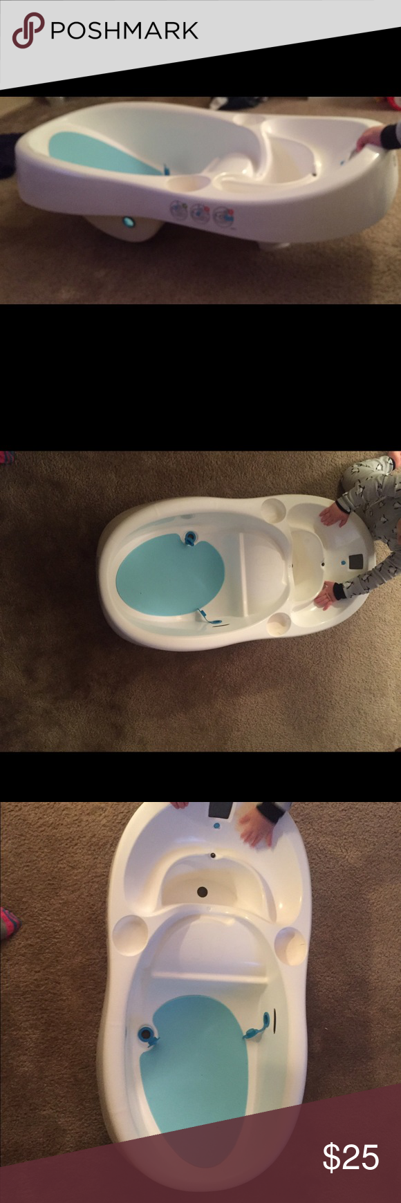 4moms infant bathtub Keep your baby squeaky clean with the 4moms infant tub, which is designed to allow clean water to flow in while dirty water flows out. A built-in, color-coded thermometer helps make it easy to find a safe and comfortable water temperature. Other
