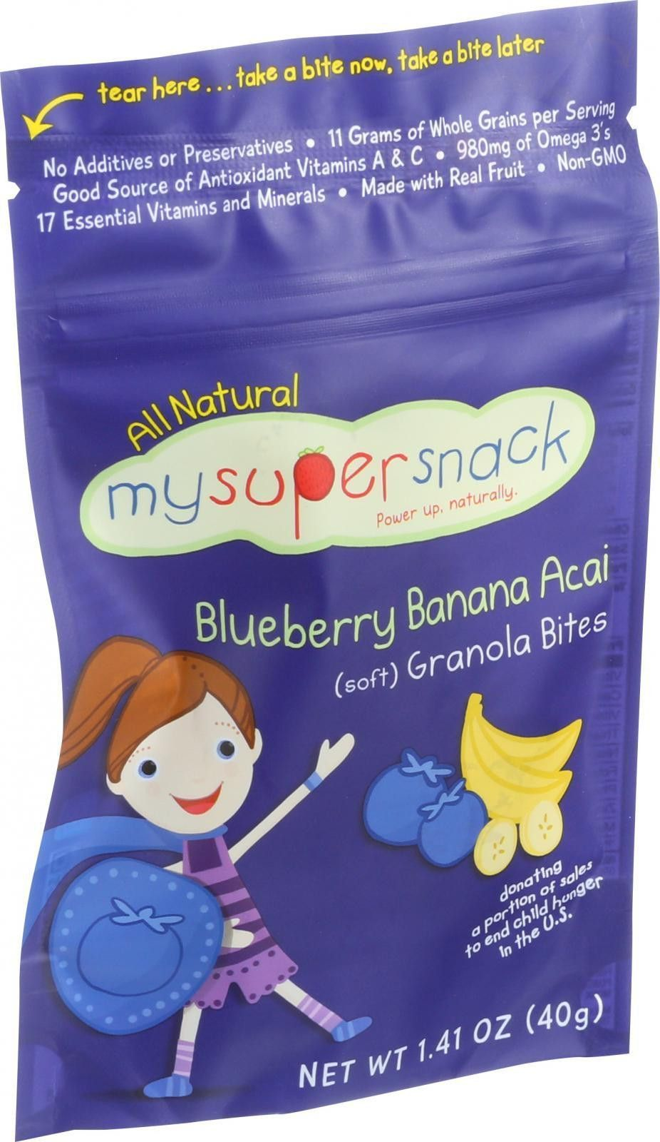 Mysupersnack Soft Granola Bites - Blueberry Banana Acai - 1.41 Oz - Case Of 6