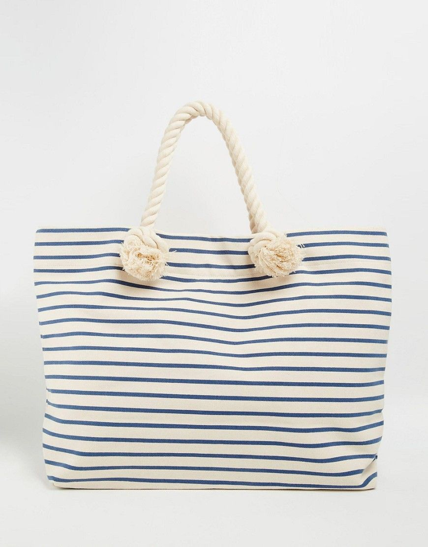Image 1 of Buji Baja Canvas Stripe Beach Bag With Rope Handles ...