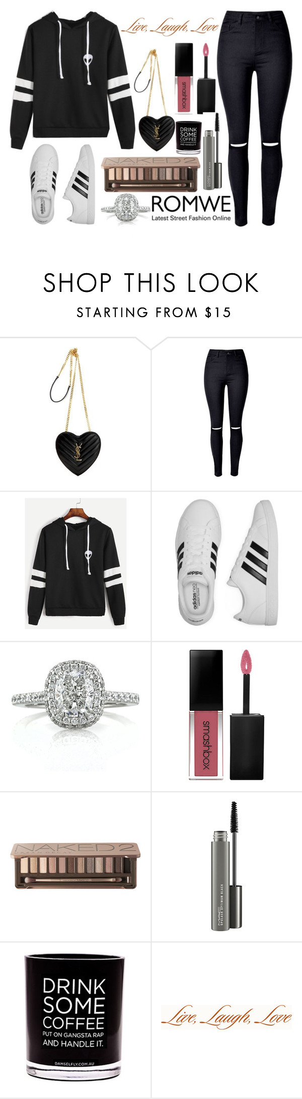 """""""Lush of Style: ✦Superstars✦"""" by fashionpassiongirlx ❤ liked on Polyvore featuring Yves Saint Laurent, adidas, Mark Broumand, Smashbox, Urban Decay, MAC Cosmetics, Damselfly Candles and Expressions"""