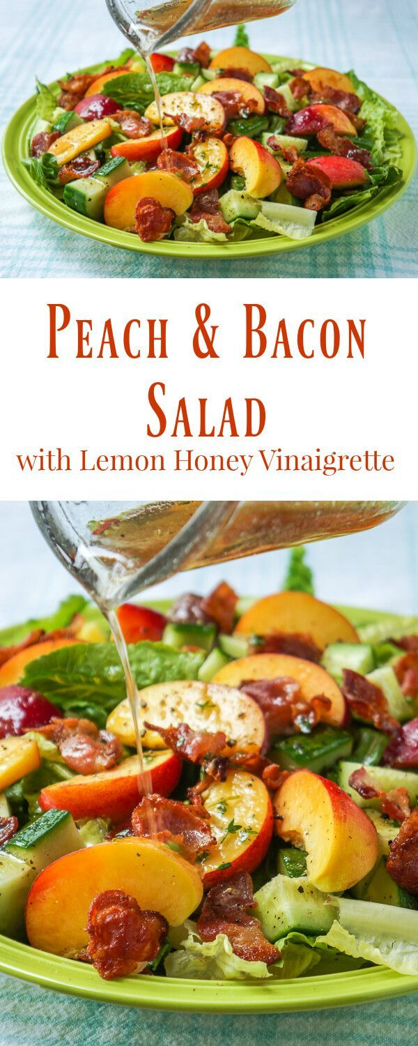 Lemon Vinaigrette on Peach Cucumber Salad Honey Lemon Vinaigrette on Peach Bacon Salad - a vinaigrette recipe that goes particularly well with salads containing summer fruits and berries like peaches and plums or strawberriesHoney Lemon Vinaigrette on Peach Bacon Salad - a vinaigrette recipe that goes particularly well with salads containing sum...