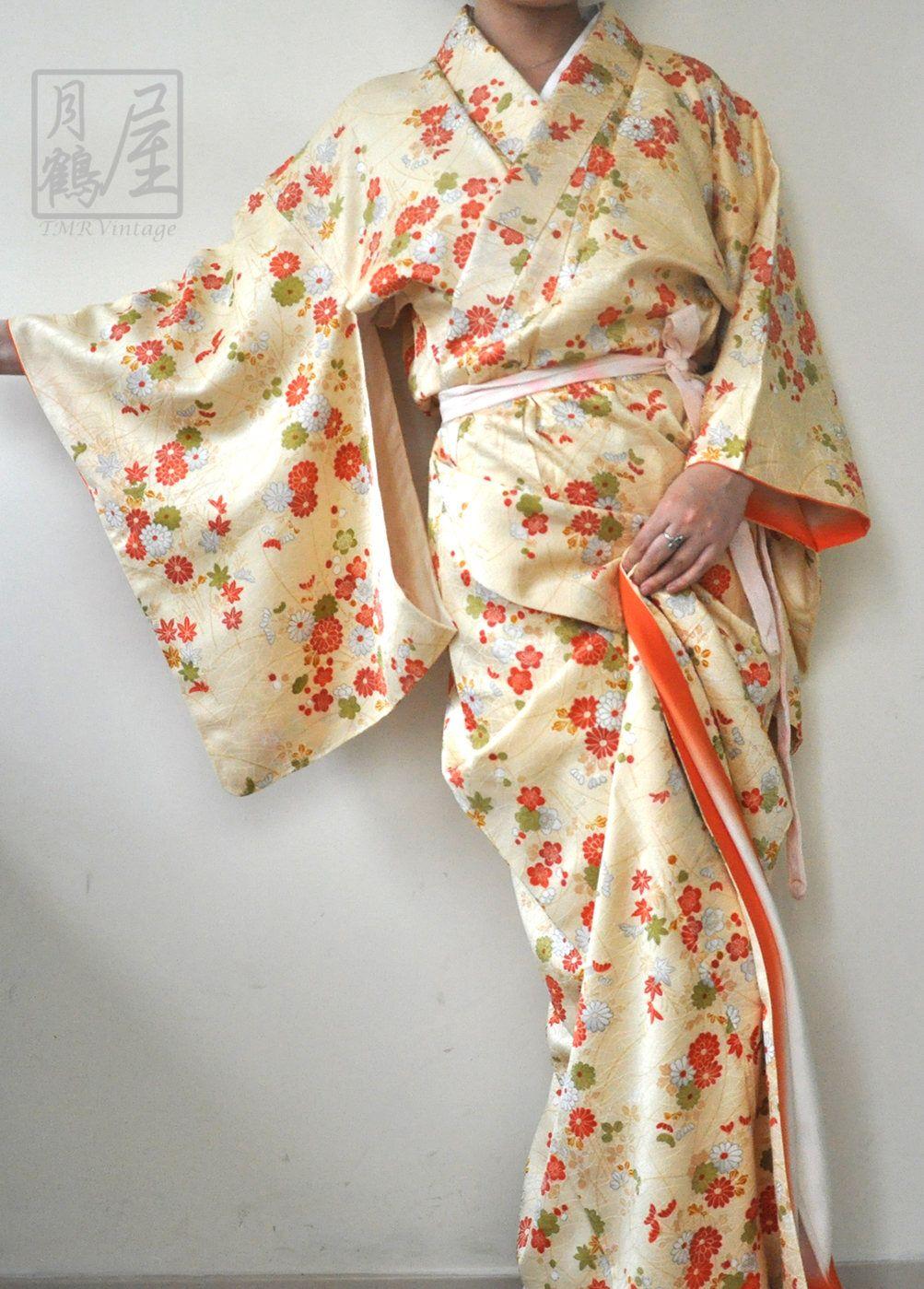 ef1b85169 Long silk kimono robe/vintage japanese full length kimono gown  dress/authenric yellow floral