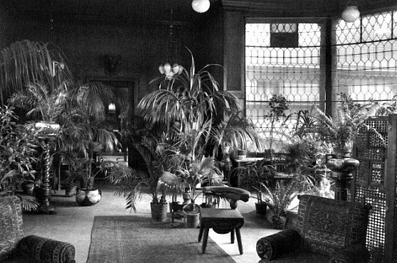 """The interior of the George M. Pullman conservatory. """"Exotic plants grown in the conservatory were placed throughout the house."""""""