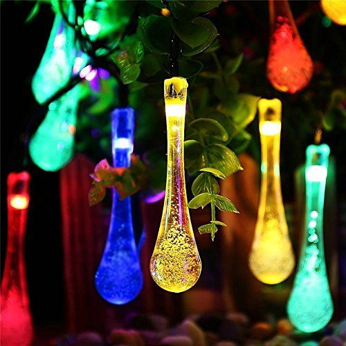 Marvelous Solar String Lights 20FT 30 Teardrop LED Outdoor Lighting Bulbs Multicolor  Decorative Fairy Lights For Christmas