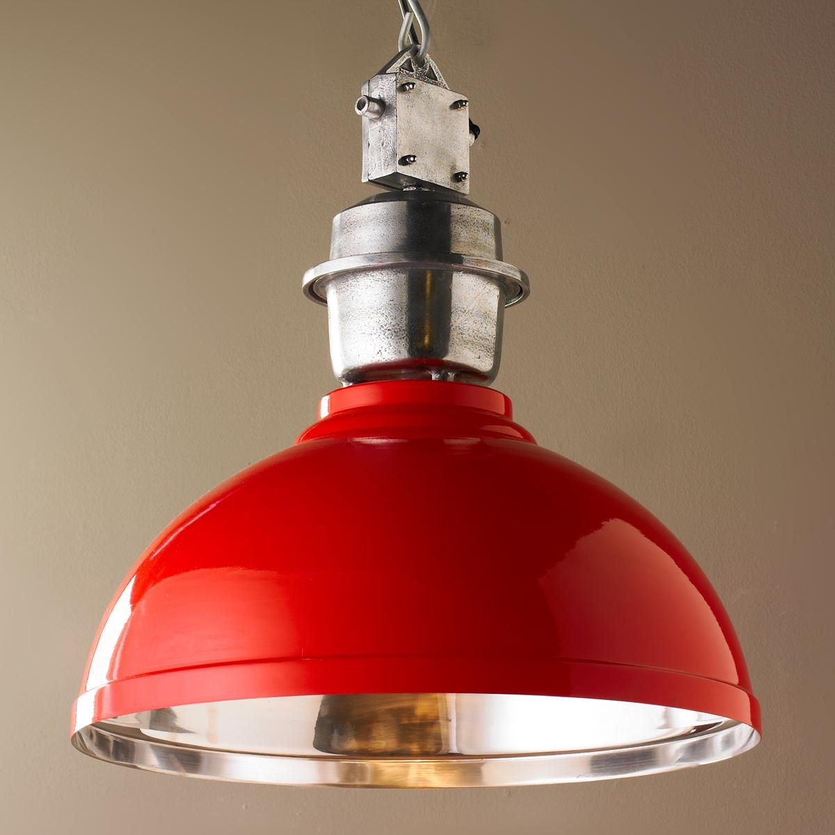 Industrial enameled shade warehouse pendant large red for Industrial bulb pendant