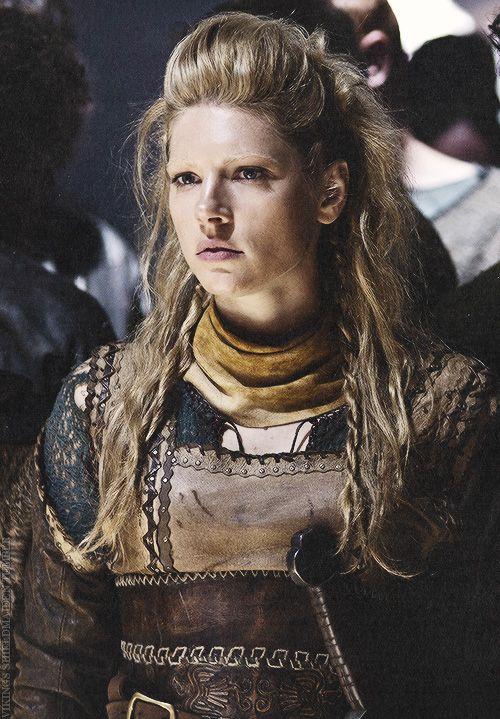 Katheryn Winnick as Lagertha on Vikings. Her hairdo is