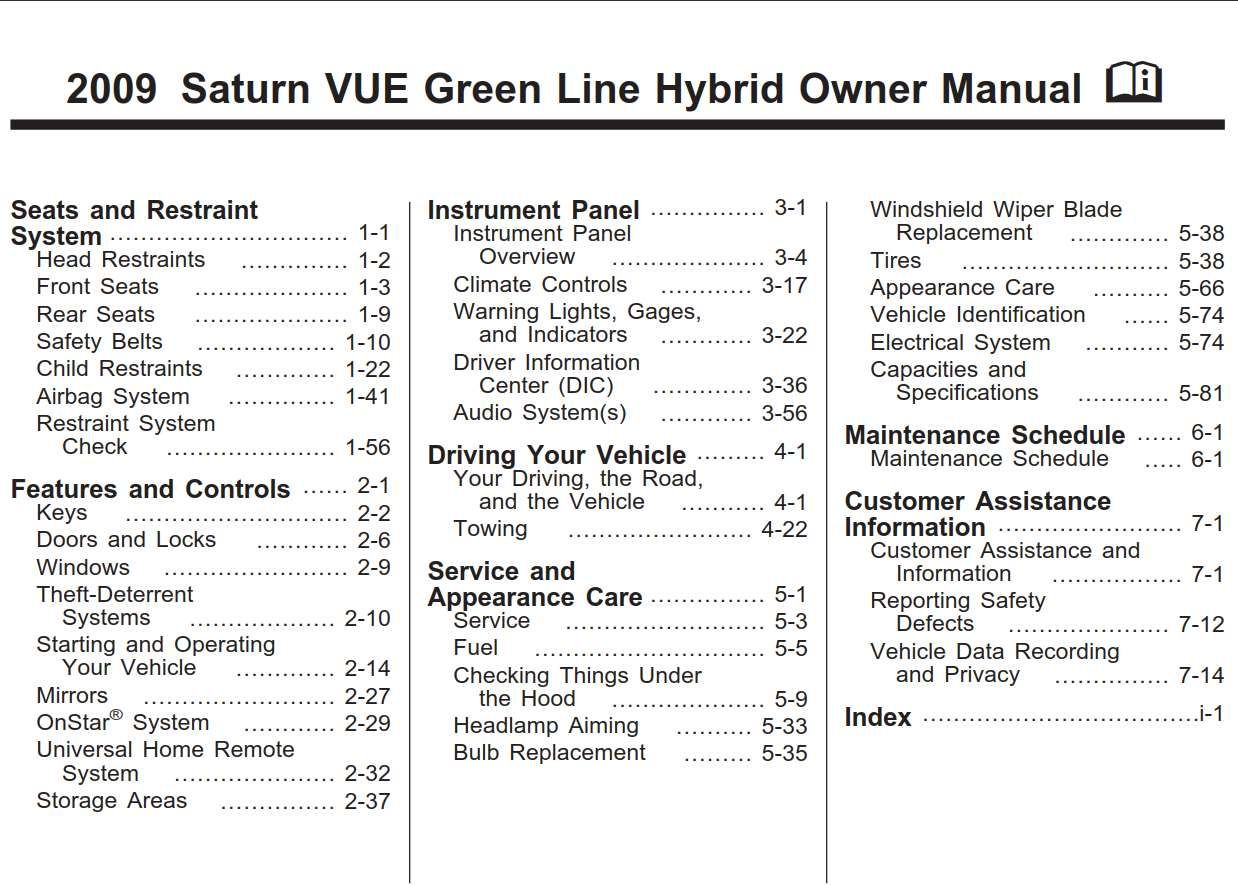 Saturn Vue Hybrid 2009 Owner S Manual Pdf Online Download