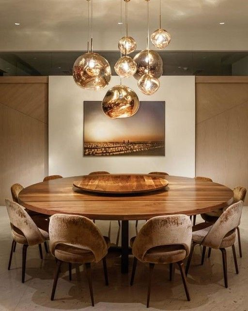Pin By Kyla Wells On Lampe Round Dining Room Dining Room Table Decor Modern Dining Room