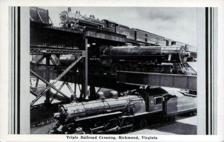 Triple railroad crossing train old trains railroad