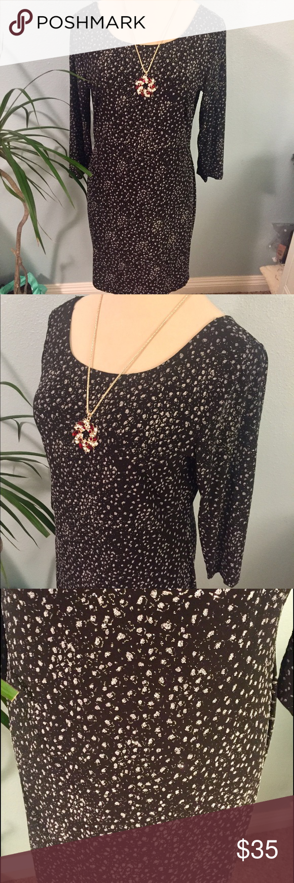 BLACK SPARKLES 3/4 sleeves slip on body con fit perfect for a night out,back has sexy back opening Dresses Midi