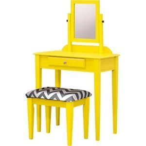 Vanity Set w/ Chevron Pattern Stool-Ladies Bedroom Beauty Dresser Make Up Table