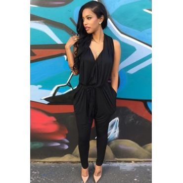 c2e8bc37f66a Cheap Casual V Neck Sleeveless Solid Black Blending One-piece Harem Jumpsuit