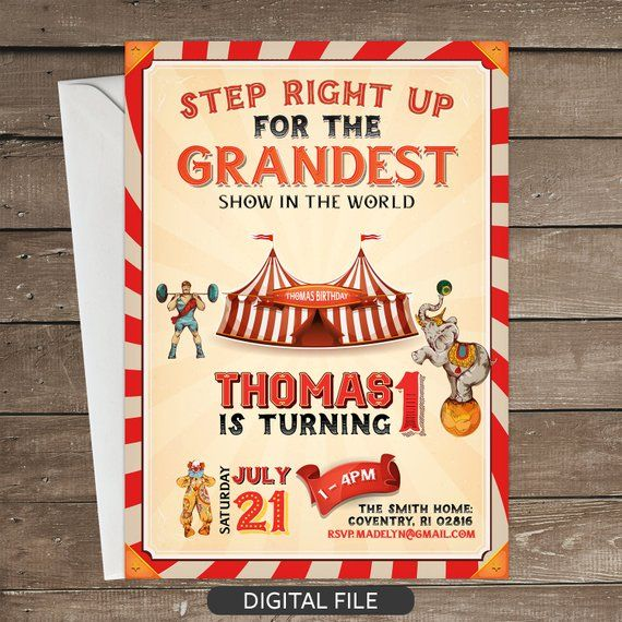 Circus Invitation Birthday Party Vintage Carnival B