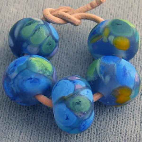 DFJ Lampwork Handmade Spacer Beads ~Neptune Gift~ Etched Blue Sea Glass sra #Spacer