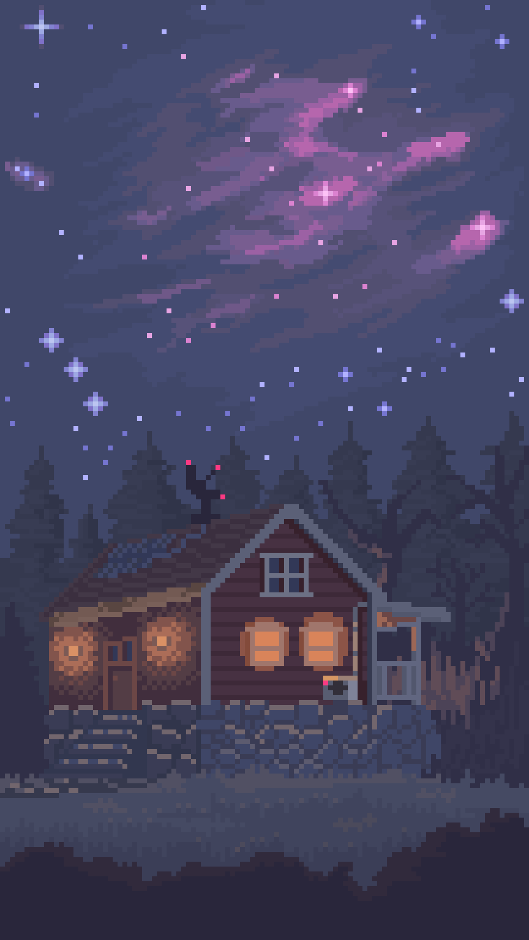 The Night Sky Full View On Phone Is Recommended Cool Pixel Art