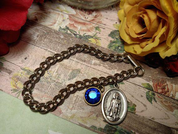 Vintage Saint St Peregrine Religious Medal Pendant by Glamaroni