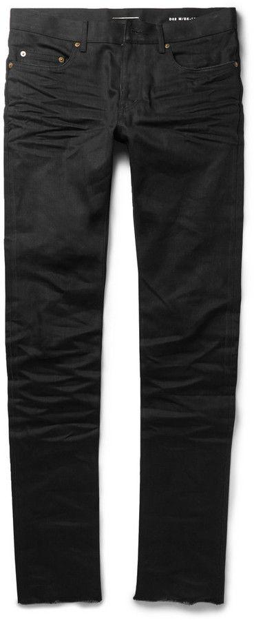 c33972d02a1 $570, Slim Fit 155cm Raw Hem Denim Jeans by Saint Laurent. Sold by MR
