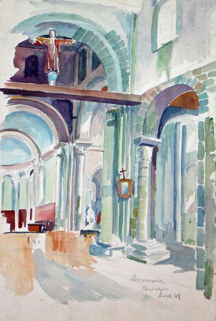 Locmaria Quimper 29 Peinture 43x29 Cm Par Adolphe Cabon