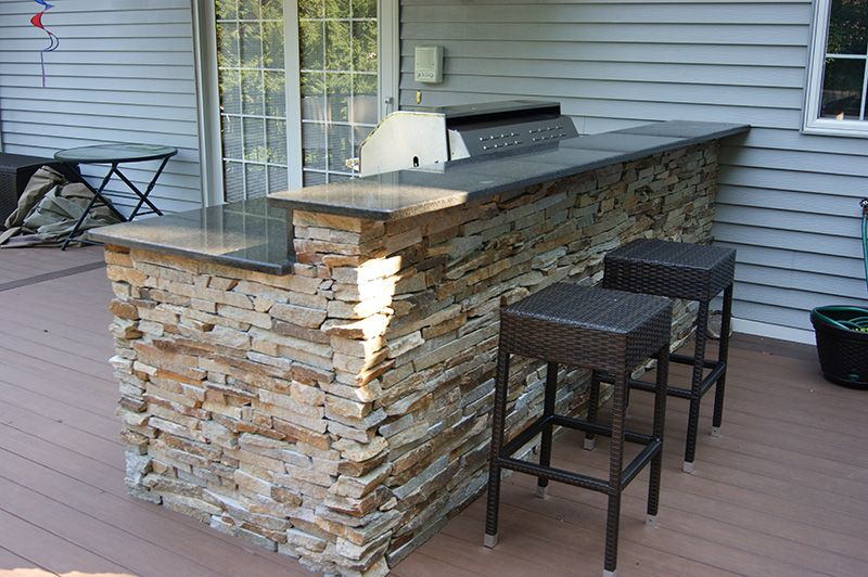 Tumbled Cobblestone Concrete Paver Patio With Dry Stacked Stone Faced  Outdoor Kitchen | Patios | Pinterest | Dry Stack Stone, Concrete Pavers And  Concrete