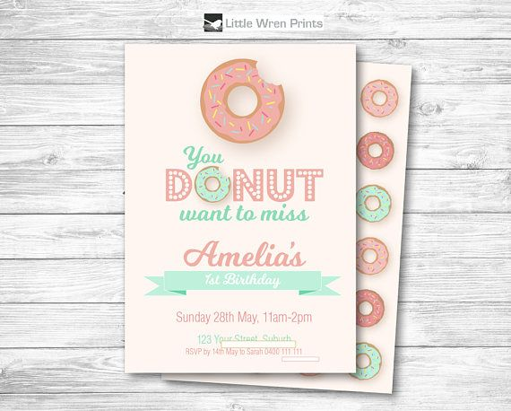 Donut Party Invitation Donut Invitation Donut Invite