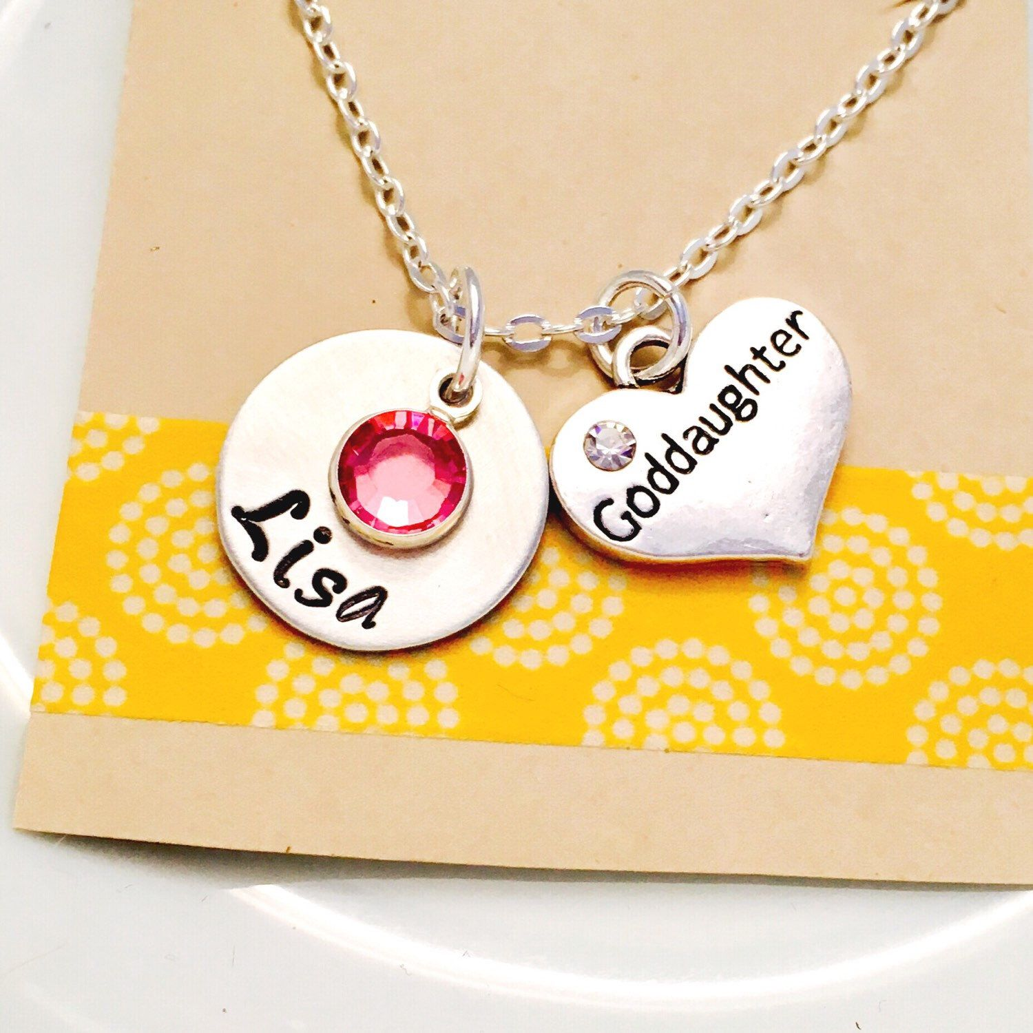 A personal favorite from my Etsy shop https://www.etsy.com/listing/270102840/goddaughter-necklace-goddaughter-gift