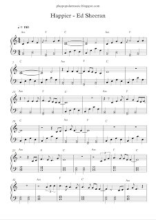 play popular music, Happier - Ed Sheeran, free piano sheet